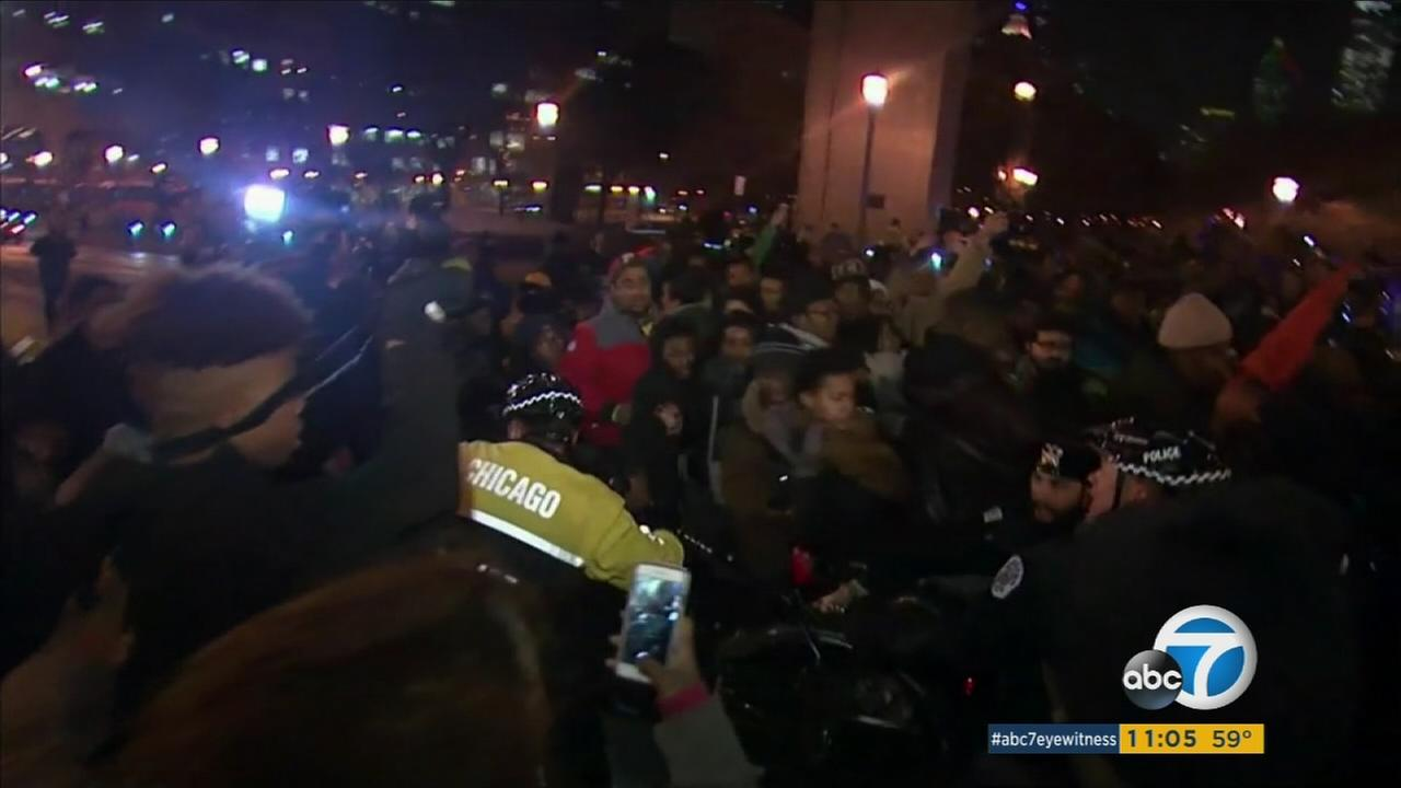 Protesters took to the streets of Chicago after police released a video showing teenager Laquan McDonald being shot and killed by officers in October 2014.