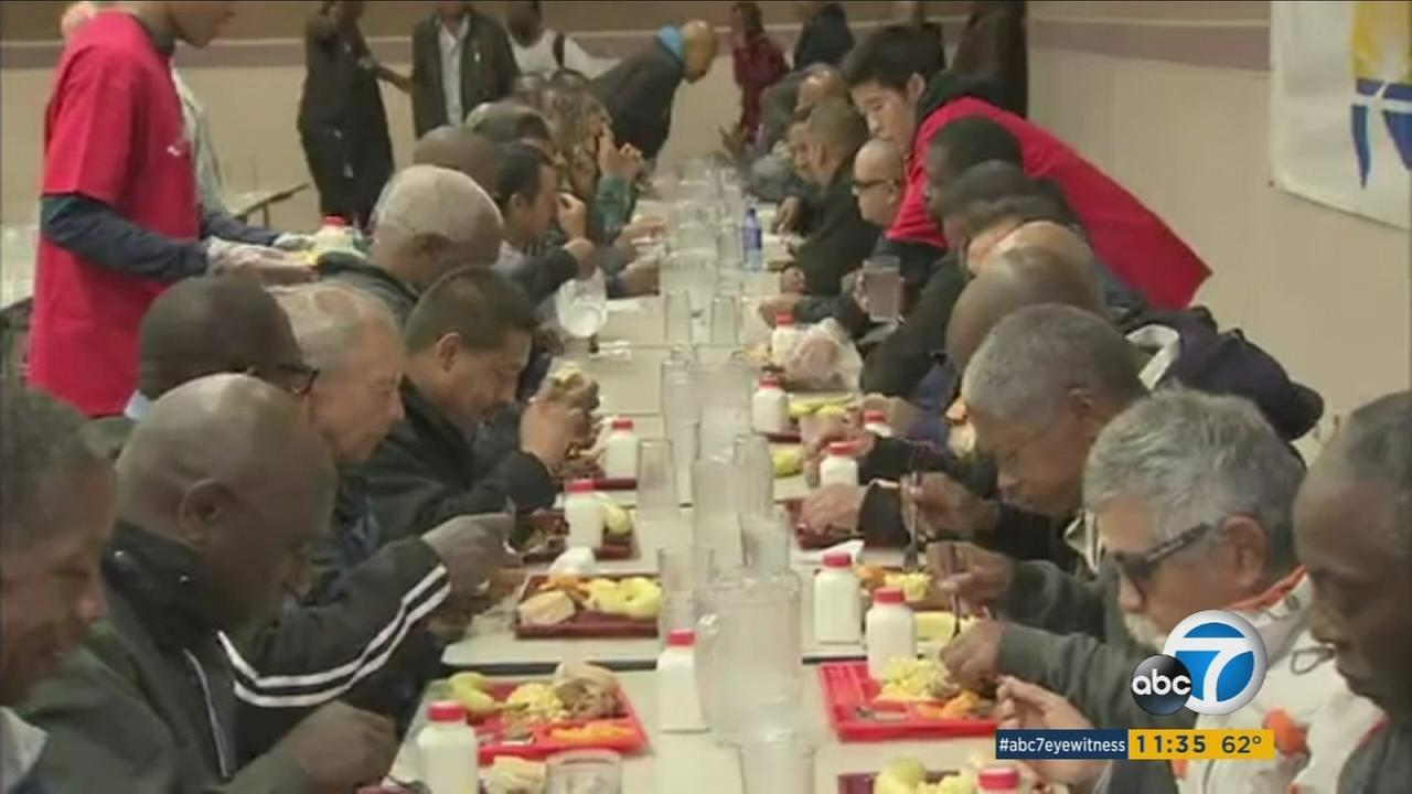 A Thanksgiving feast hosted by the Los Angeles Mission was given to thousands of homeless on Wednesday, Nov. 25, 2015.