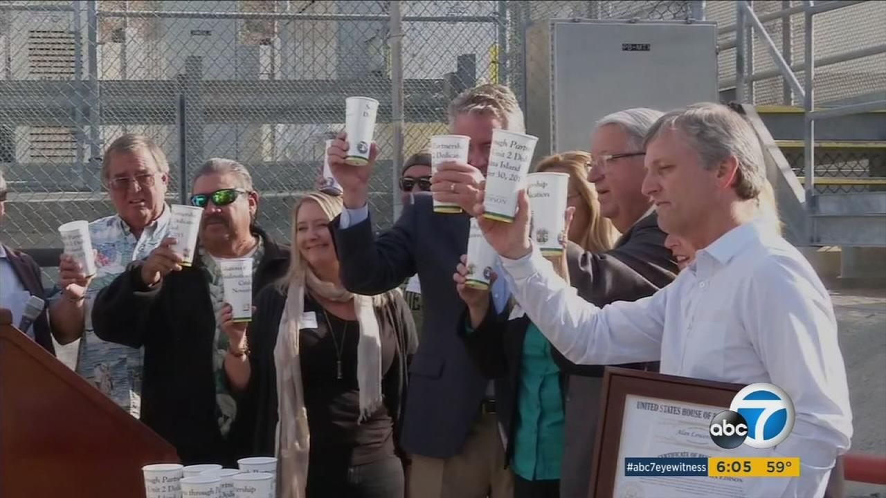Officials celebrate a new desalination plant for Catalina Island on Monday, Nov. 30, 2015.