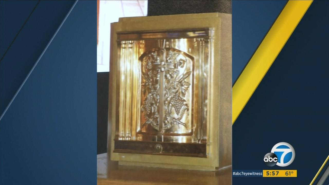 A tabernacle stolen from a Los Angeles Catholic church is shown in an undated image.