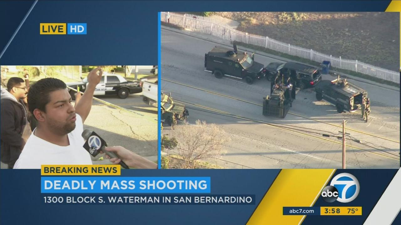 Witness Jose Rocha descbribes shootout between San Bernardino PD and chase suspects in San Bernardino on Wednesday, Dec. 2, 2015.