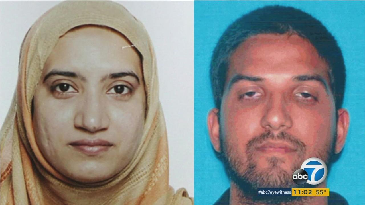 Tashfeen Malik, left, and her husband Syed Farook, right, are shown in undated images.