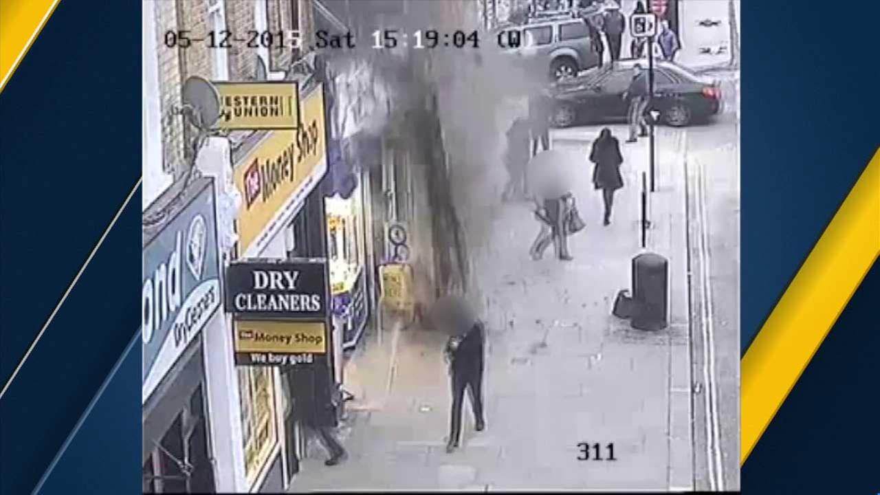A part of a roof collapsed over a crowded London sidewalk. The shocking scene was all captured on video.