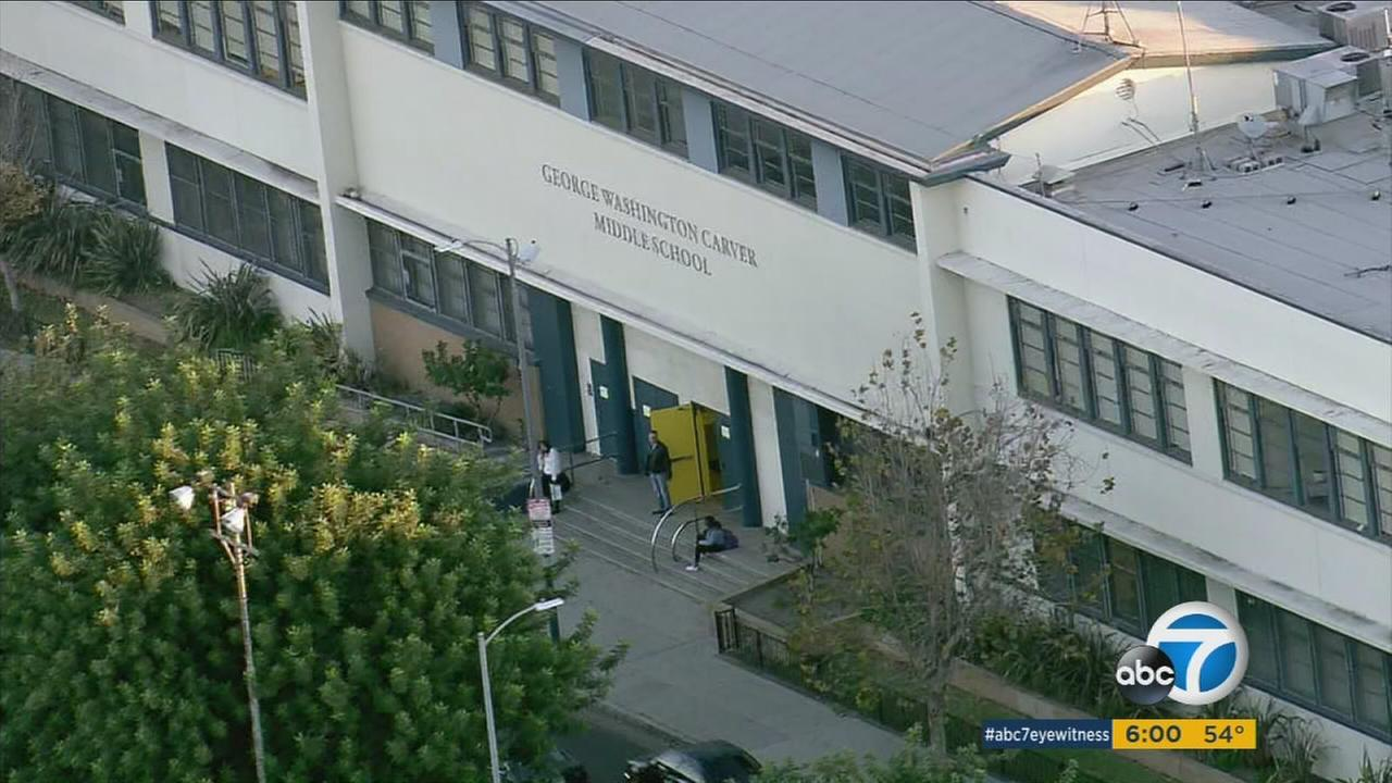 George Washington Charter Middle School closes, along with all other LAUSD campuses following a threat investigation on Tuesday, Dec. 15, 2015.
