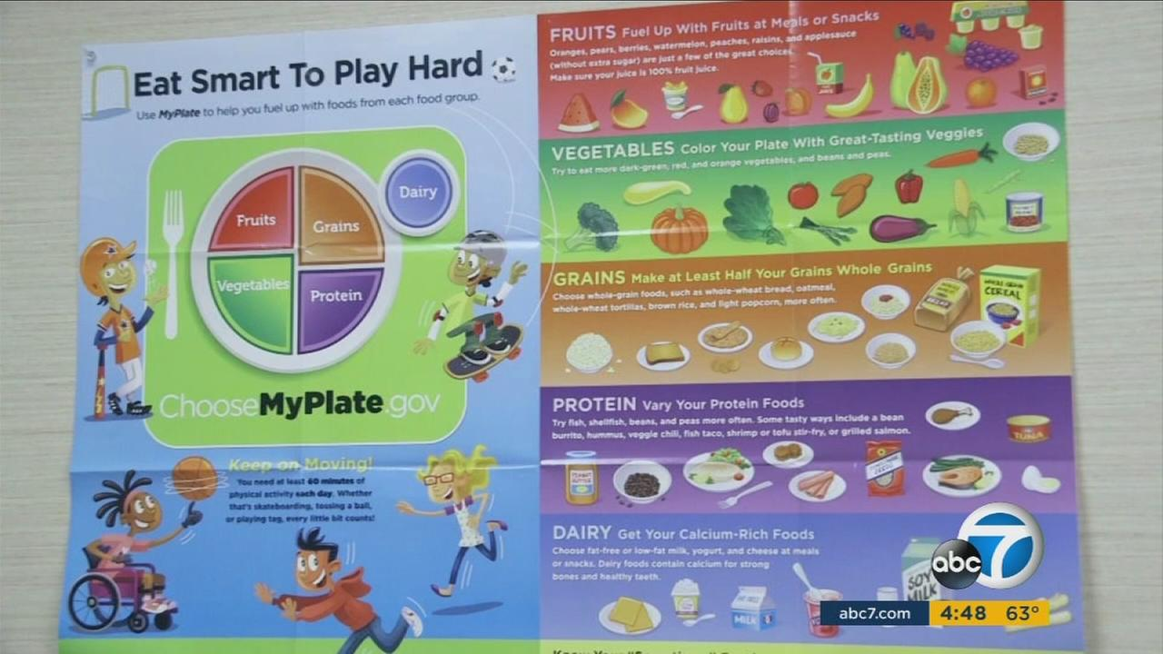 A food and exercise chart is shown in a pediatricians office.