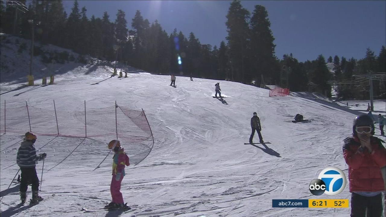 People from all over Southern California ski at Mountain High Ski Resort in Wrightwood on Christmas day, Dec. 25, 2015.