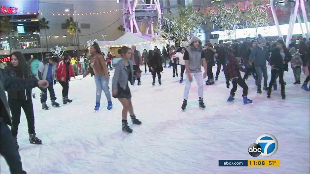 People ice skating at L.A. Live on Christmas, Dec. 25, 2015.