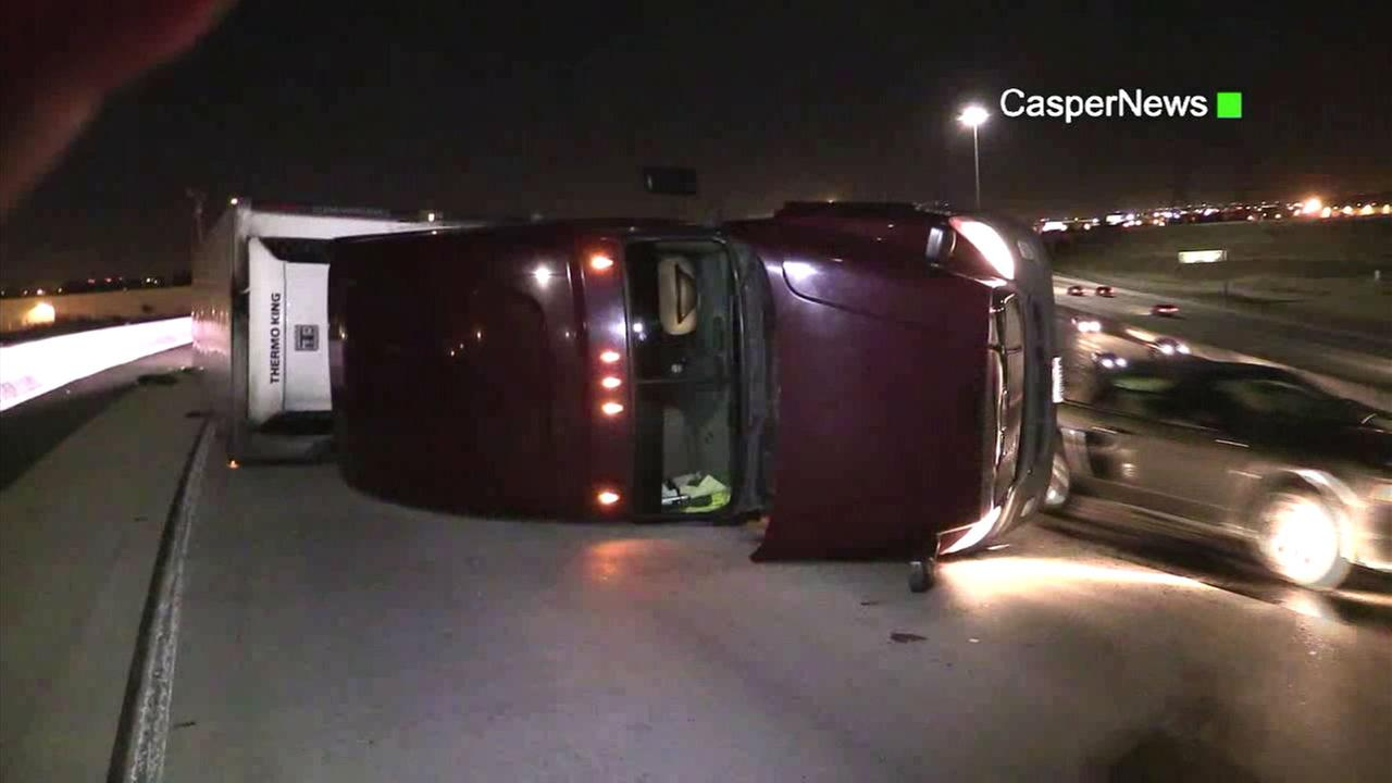 A semi tipped over due to strong winds in the Southland on Saturday, Dec. 26, 2015.