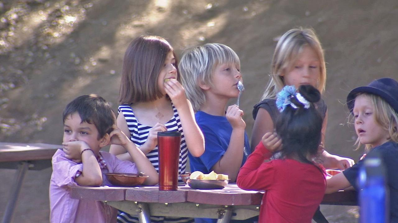 Children at Muse School in Calabasas are seen eating in this undated file photo.