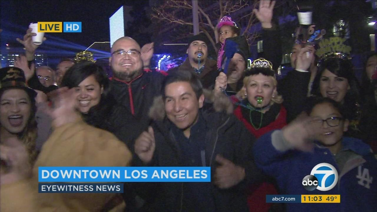 Thousands gathered in Grand Park during a New Years Eve celebration in Downtown Los Angeles on Thursday, Dec. 31, 2015.