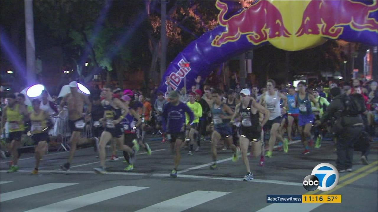 Thousands running in New Years Race Los Angeles 2016 on Sunday, Jan. 3, 2016.