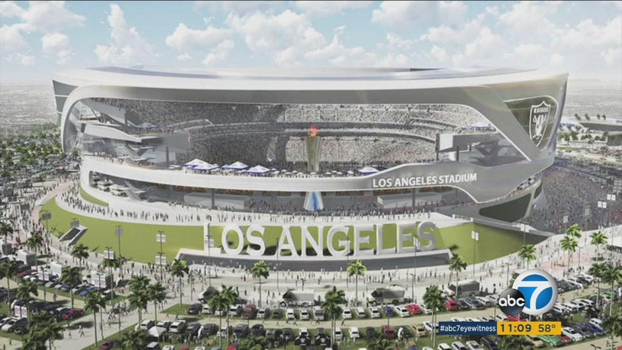 An architectural rendering of a stadium proposed to be potentially built in the Los Angeles area.