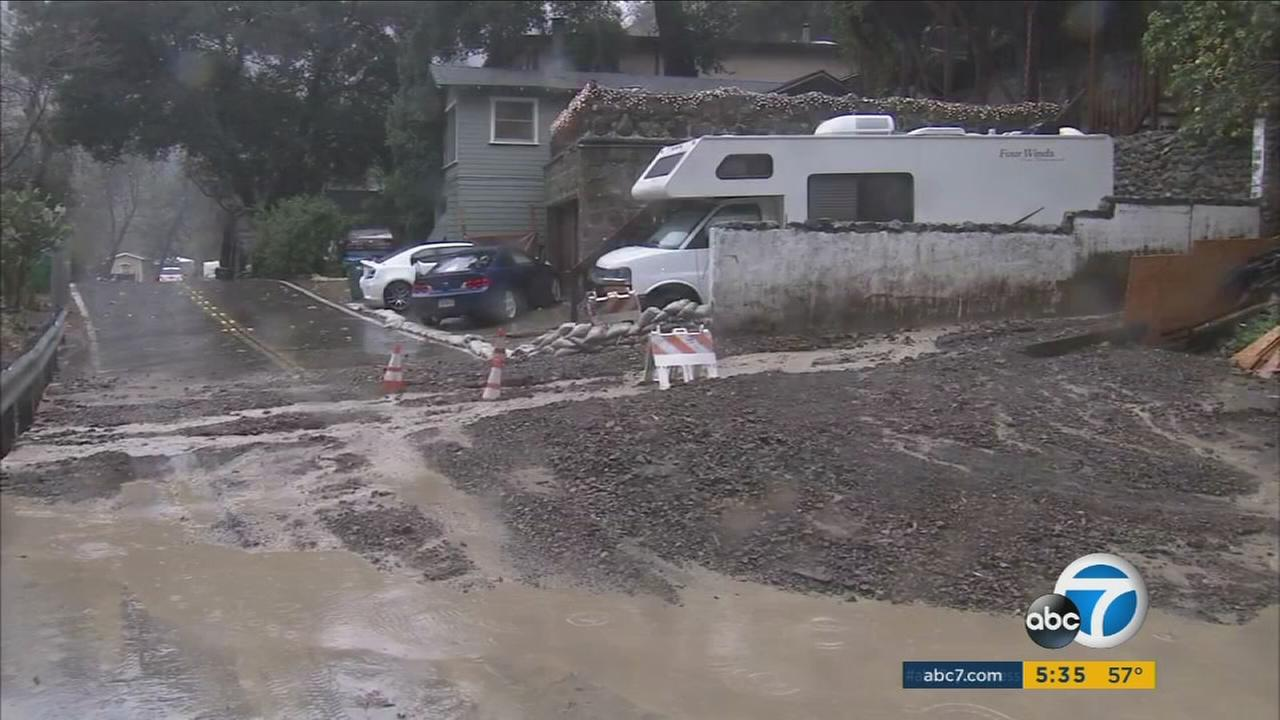 Mud surrounds a home in Silverado Canyon after an El Nino-related storm hit on Tuesday, Jan. 5, 2016.