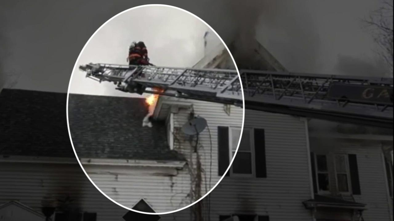 A firefighter battling a house fire in Maine fell through the roof. The frightening incident was caught on video.