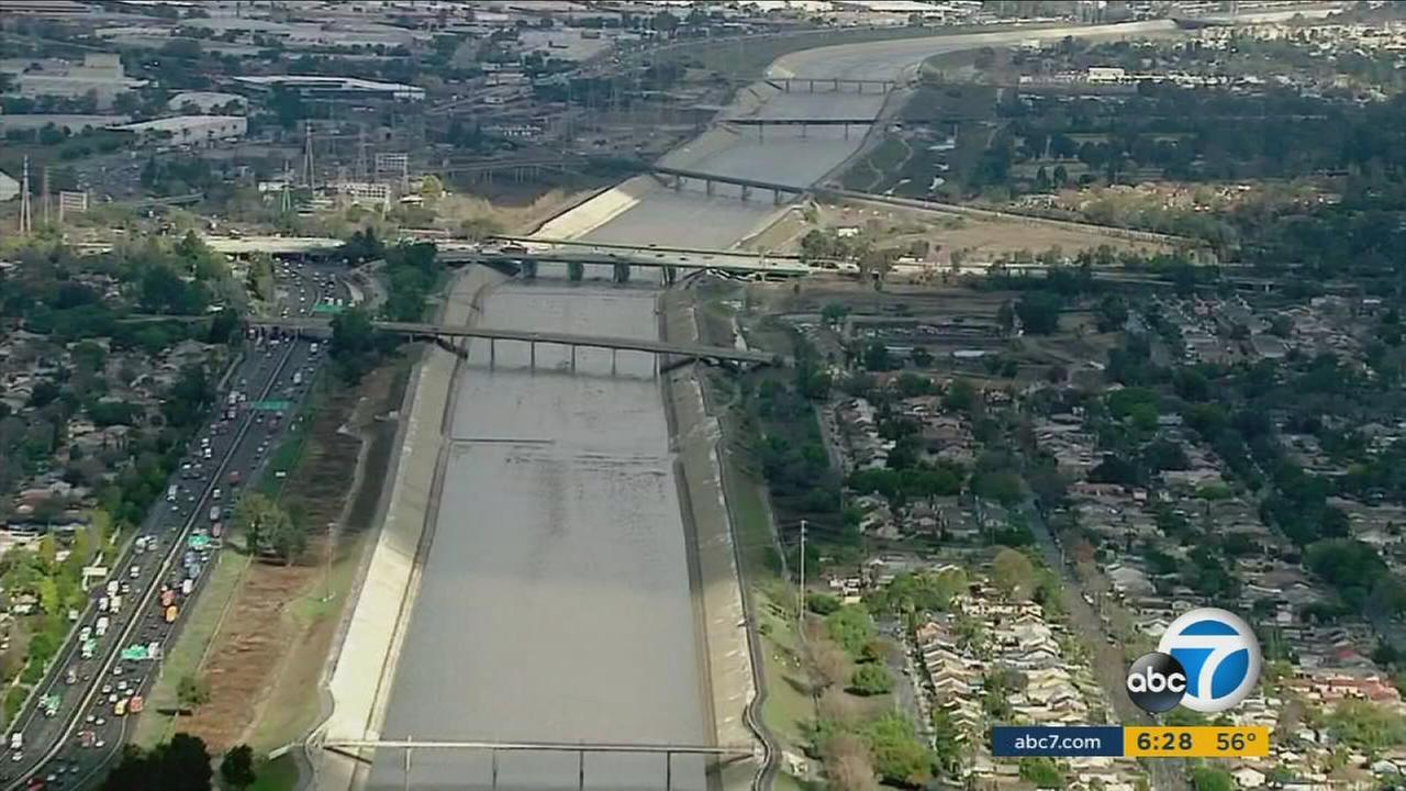 The Los Angeles River is seen after a series of El Nino-driven storms in January 2016.