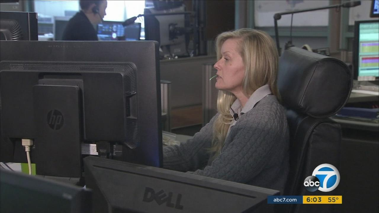 Annie Teall, the 911 dispatcher who responded to the deadly San Bernardino terror attack, at her job on Friday, Jan. 8, 2016.