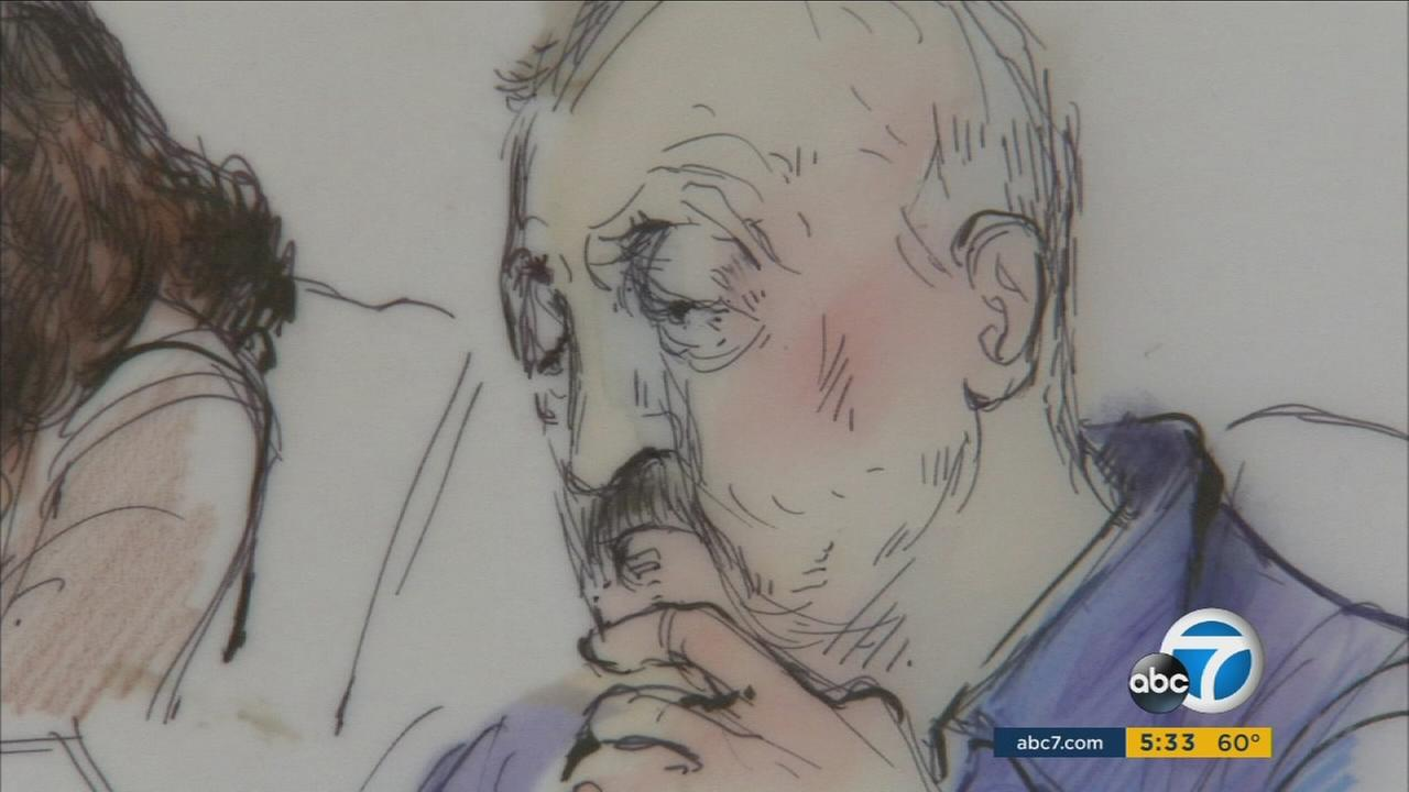 A sketch shows Peter Ojeda, the head of the Orange County branch of the Mexican Mafia, in court on Wednesday, Jan. 13, 2016.