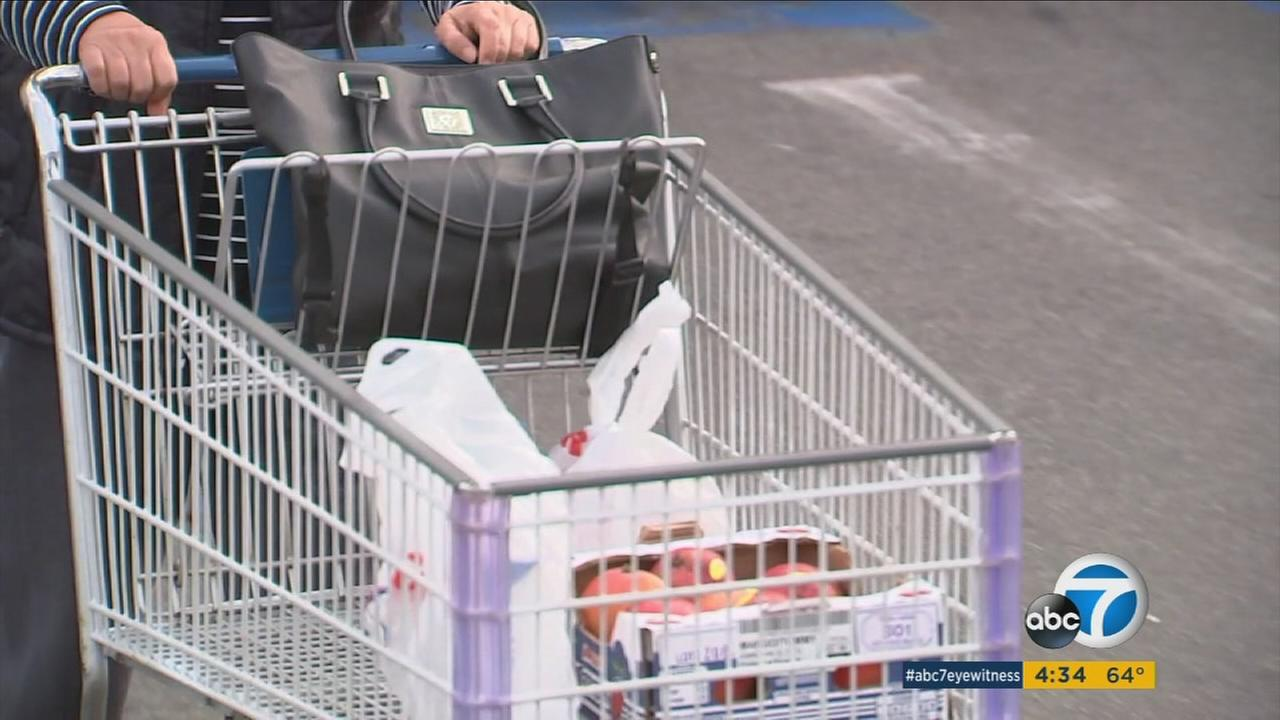 A womans purse in a shopping cart is shown in this undated photo.