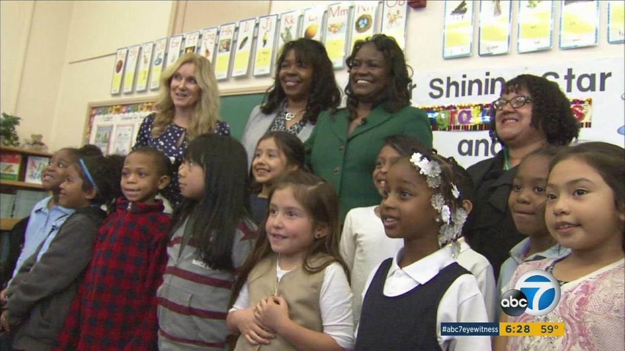 Michelle King, the Los Angeles Unified School Districts new superintendent., visited her former elementary school in Inglewood on Tuesday, Jan. 19, 2016.