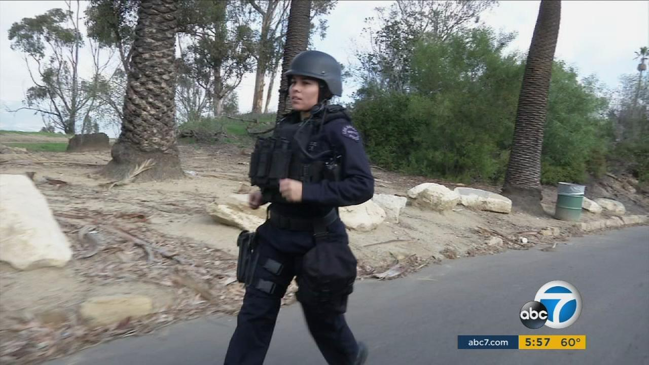 Officer Kristina Tudor with the Los Angeles Police Department will run the Los Angeles Marathon in full tactical gear to raise money for the Badge of Heart organization.