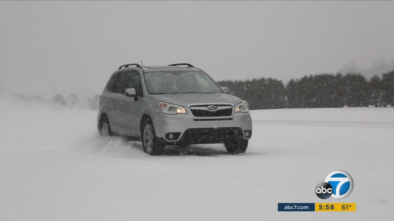 The Subaru Forester was put to the test on Consumer Reports snow-covered auto track.