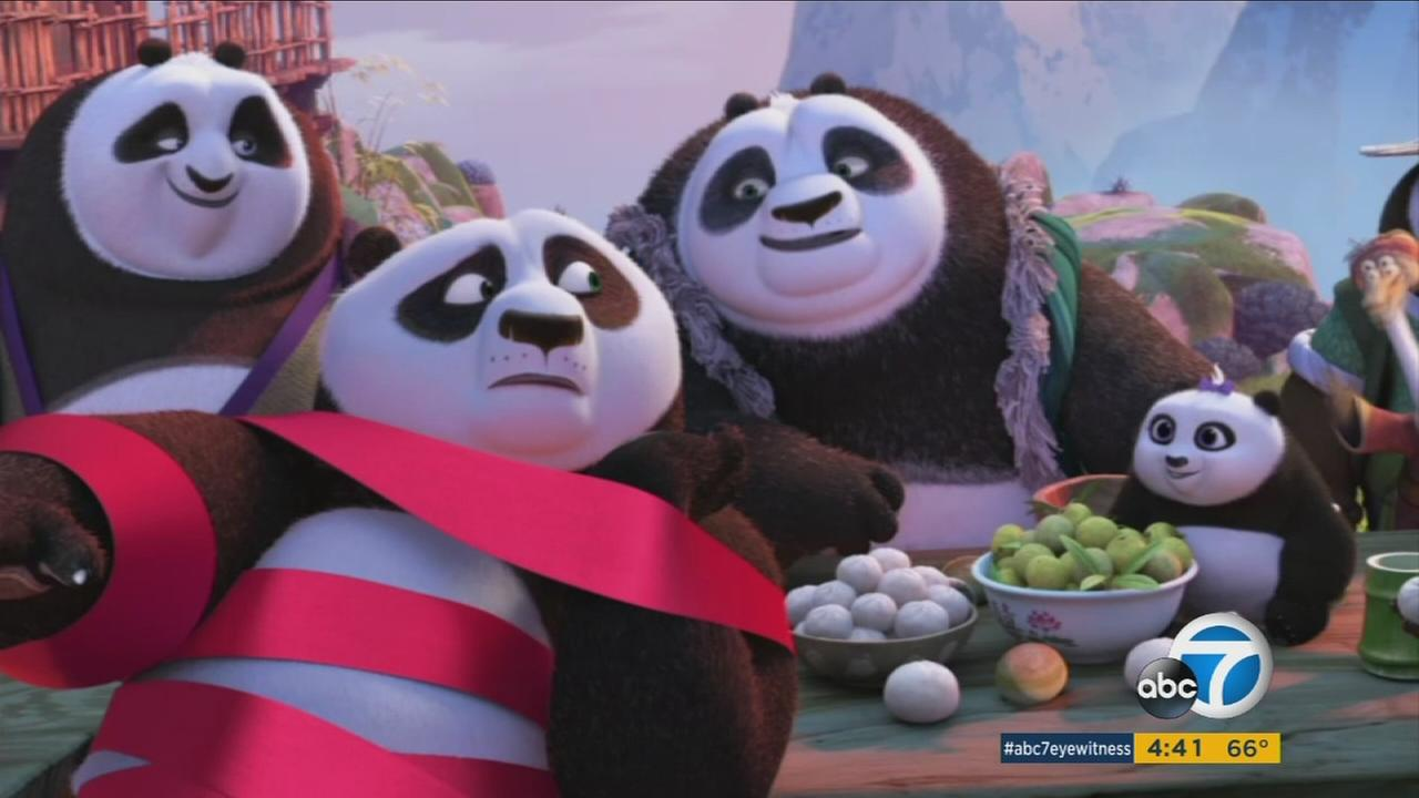 Jack Black and Kate Hudson star as the voices in Kung Fu Panda 3, which hits theaters on Jan. 29, 2016.