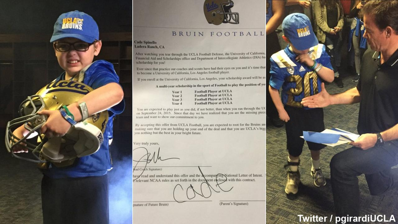Cade Spinello, 9, signed an honorary letter of intent with the UCLA Bruins on Saturday, Jan. 30, 2016.