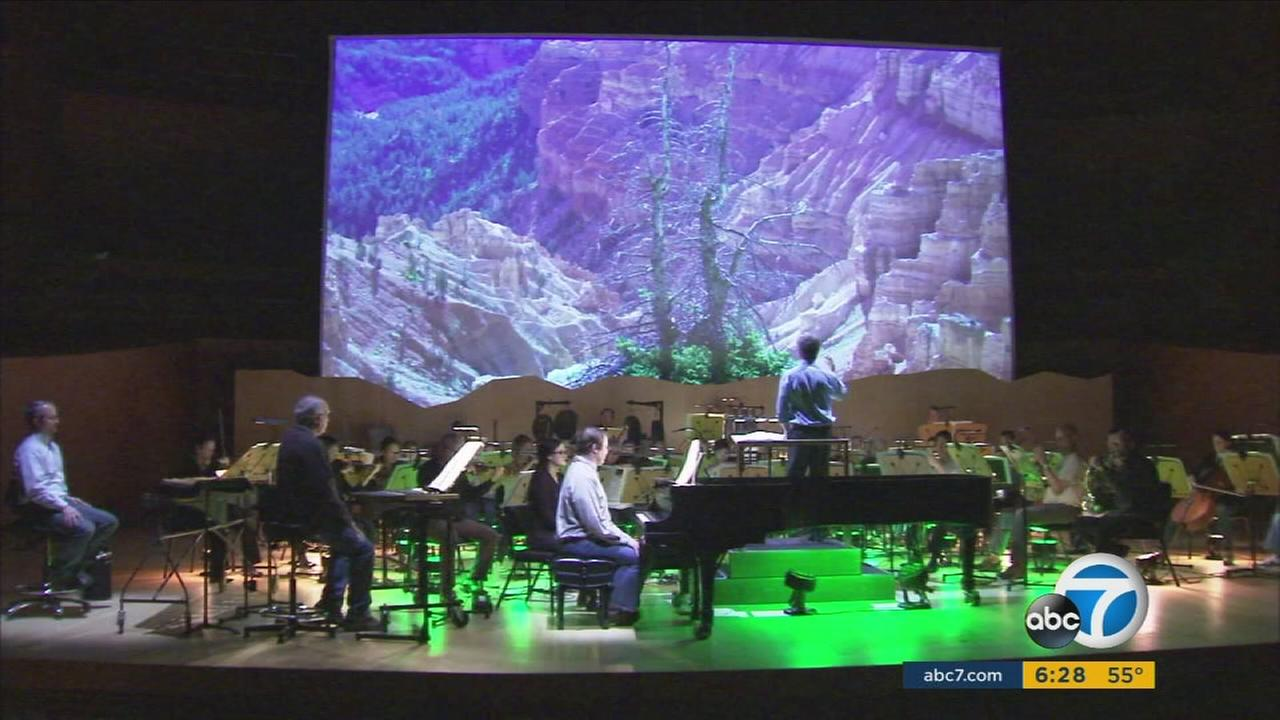 Walt Disney Concert Hall performance combines modern music with breathtaking national park images