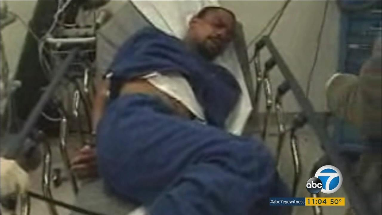 Exclusive footage obtained by ABC7 shows just minutes after Bret Phillips was allegedly beaten by L.A. County sheriffs deputies Joey Aguiar and Mariano Ramirez on Feb. 11, 2009.