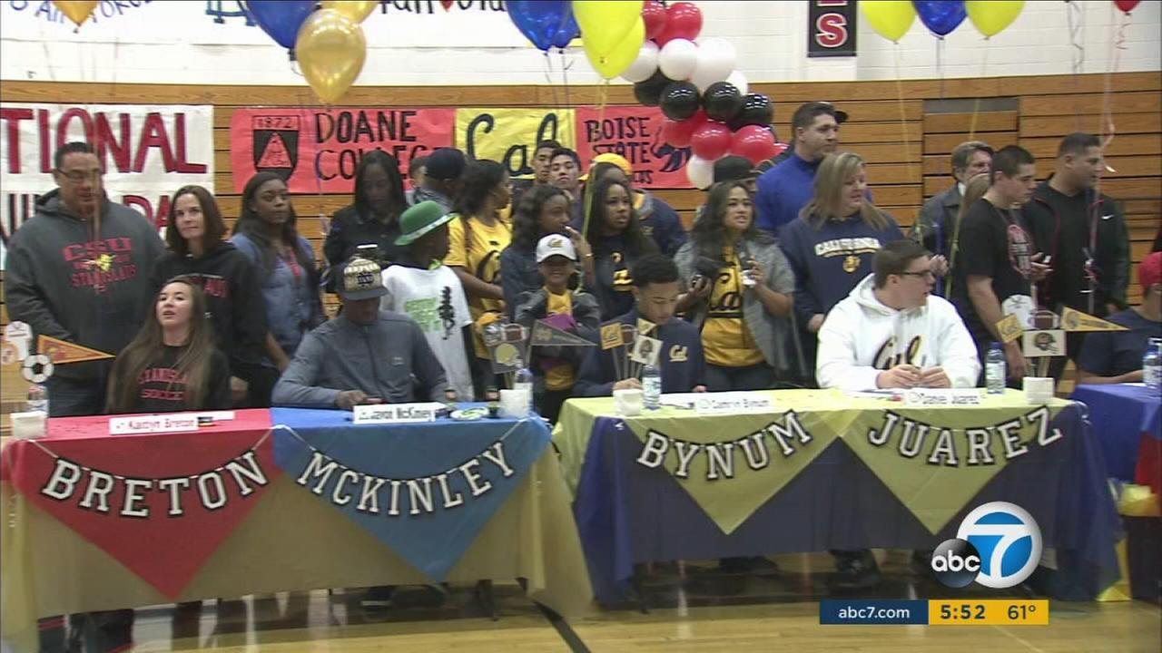 Centennial High School in Corona saw 20 athletes sign national letters of intent.