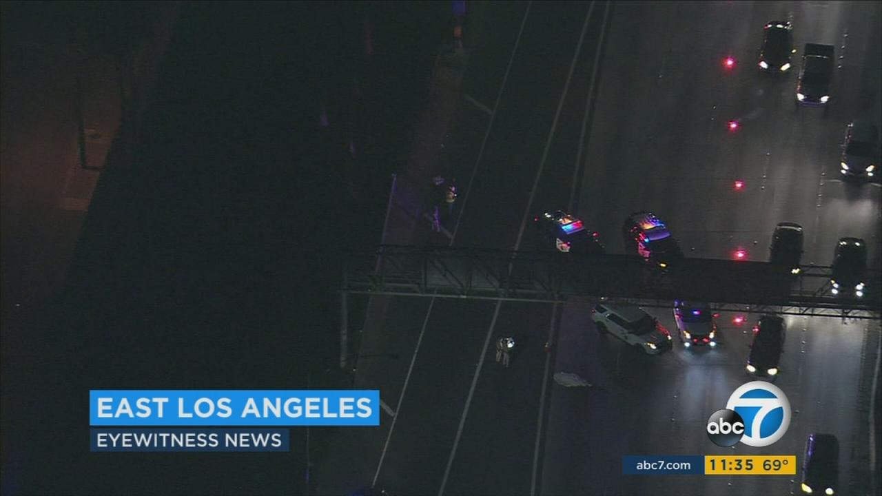 A hit-and-run driver killed a pedestrian on the 60 Freeway.