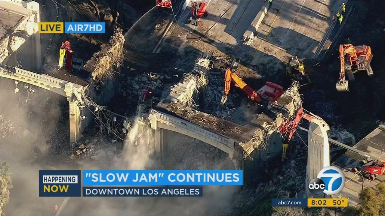 The demolition of the historic Sixth Street Bridge has begun, causing a major disruption for drivers on the 101 Freeway in downtown Los Angeles on Saturday.