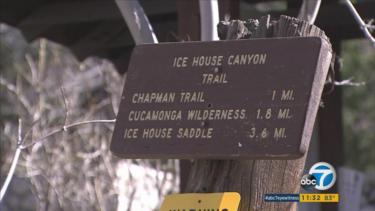 A sign of the Icehouse Canyon trail in Mount Baldy on Monday, Feb. 8, 2016.