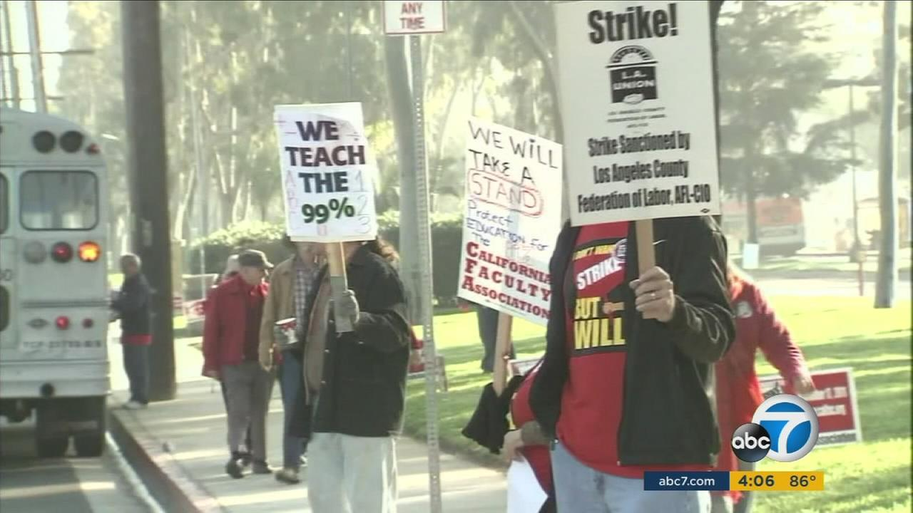 The California Faculty Association said it will strike in April at all 23 California State University campuses if a labor agreement is not reached by then.