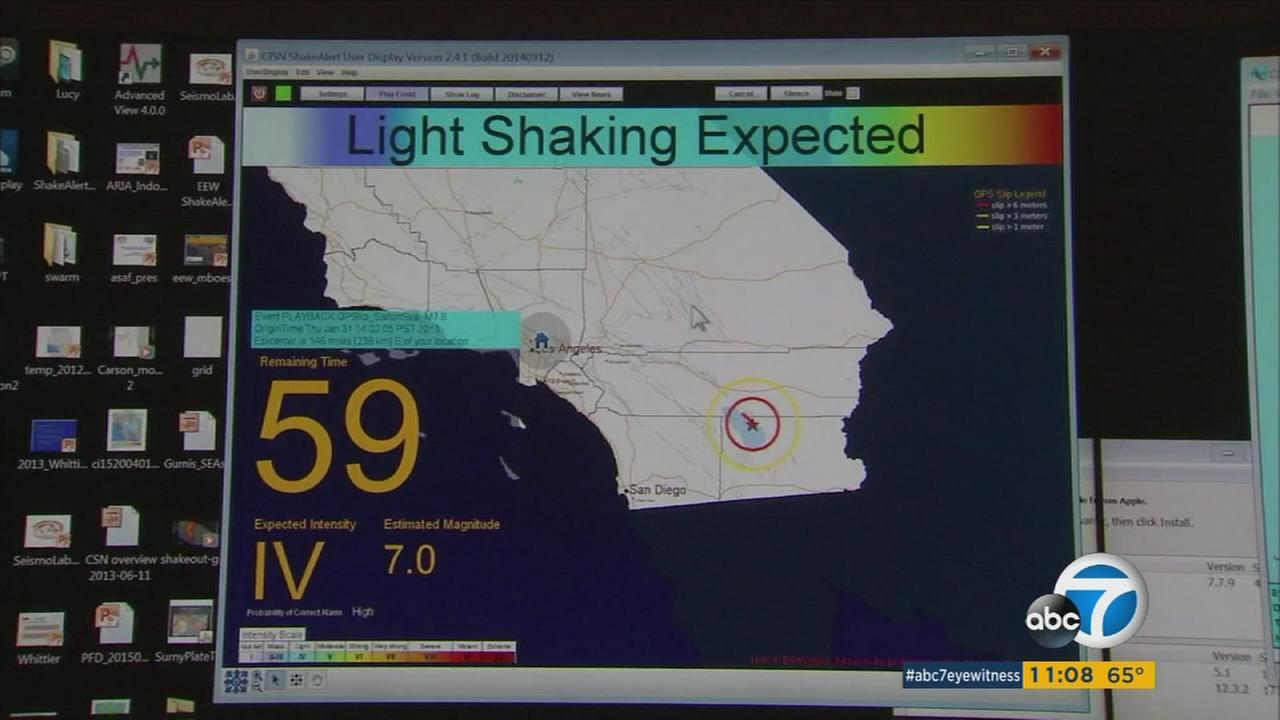 A screen depicts what an earthquake early-warning system might look like before the quake actually strikes.