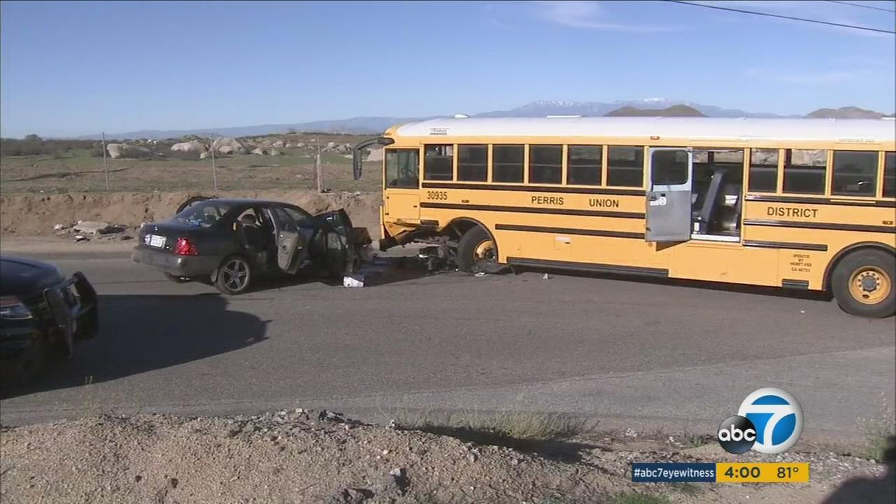 The Riverside County Fire Department said 22 people were injured after a crash involving a school bus and car on Wednesday, Feb. 10, 2016.