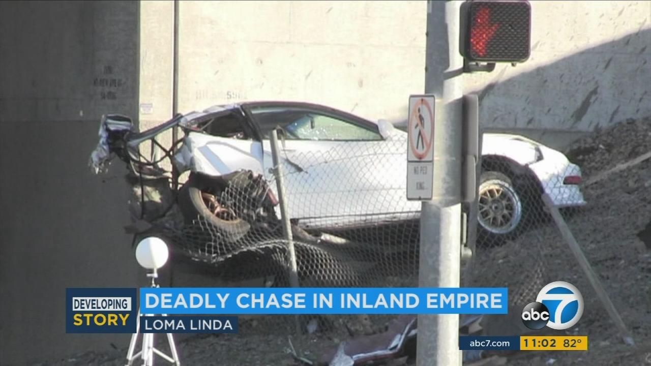 A suspected car thief died in a Loma Linda crash after being pursued by the victim.