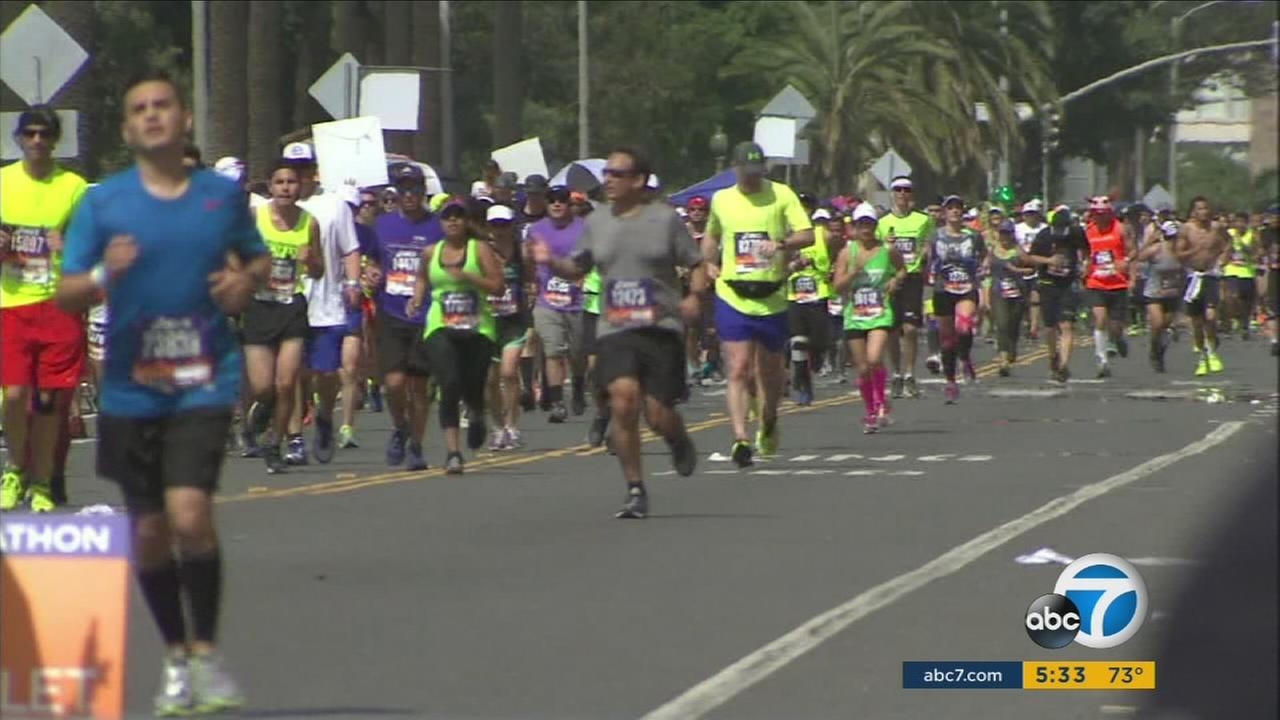 Runners in the 2015 Los Angeles Marathon are shown in an undated photo.