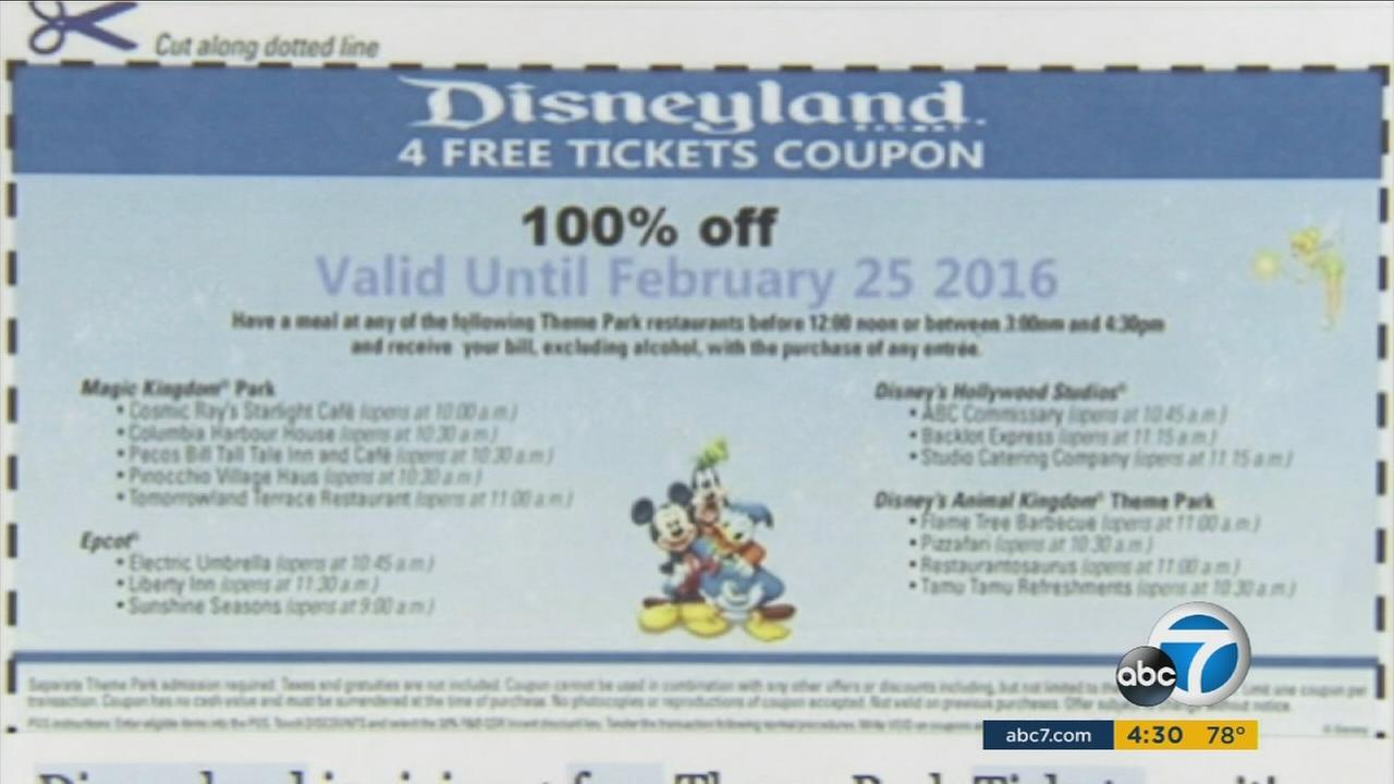 A coupon circulating on Disneyland is offering four free tickets to the theme park. Sound too good to be true? Its probably because its a scam targeting personal information.