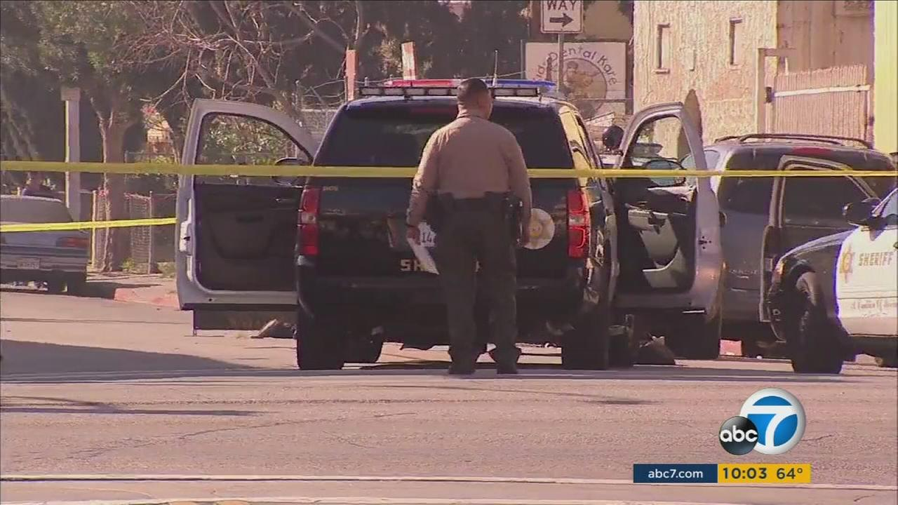Authorities cordoned off the scene of a deputy-involved shooting in East Los Angeles on Sunday, Feb. 14, 2016.