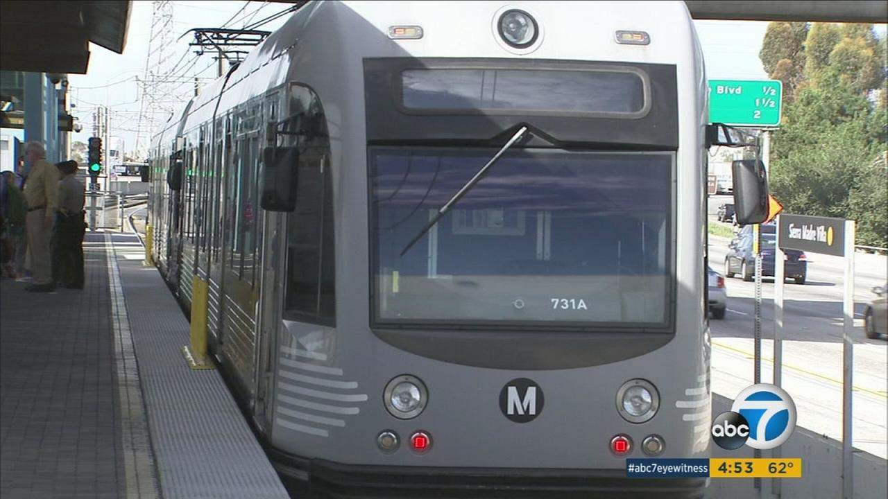 A Metro light rail train is shown on the new Gold Line extension in Pasadena on Wednesday, Feb. 17, 2016.