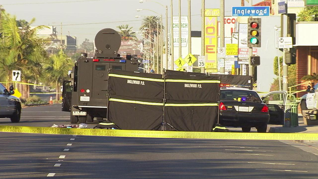 Authorities cordoned off a section of Manchester Boulevard after an officer-involved shooting occurred on Sunday, Feb. 21, 2016.