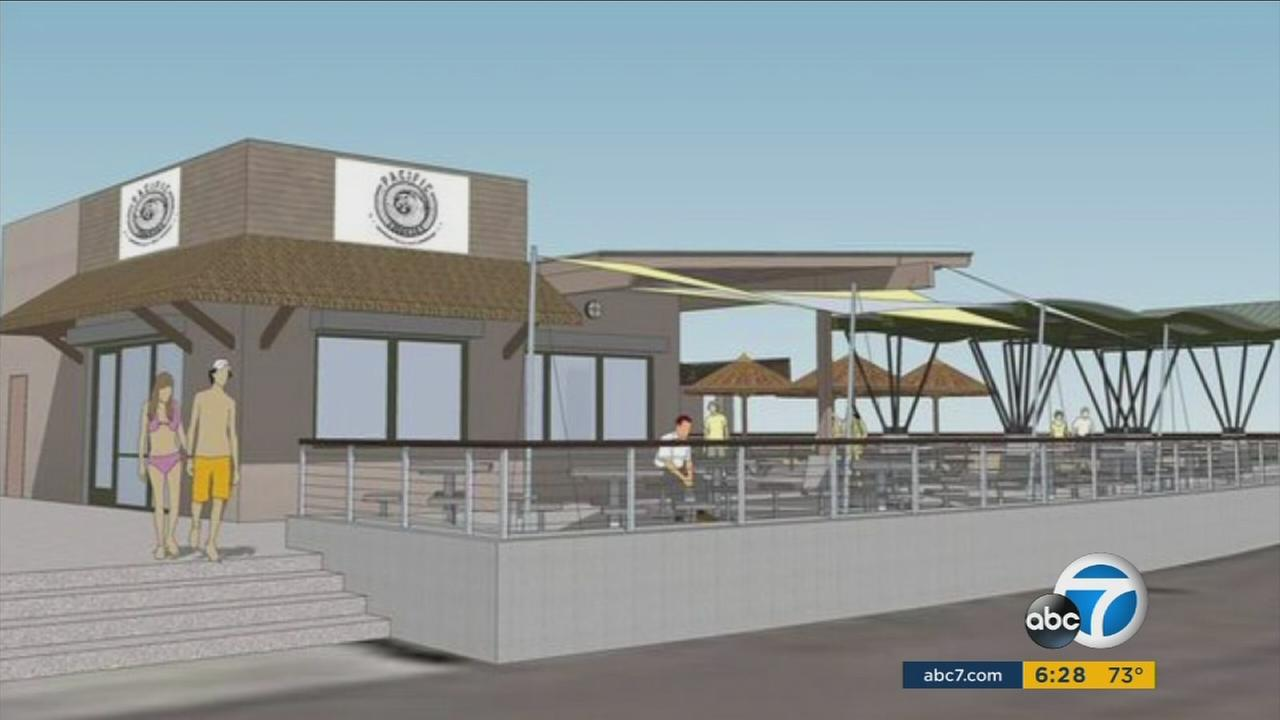 A rendering of a concession stand at Bolsa Chica State Beach set for makeover.