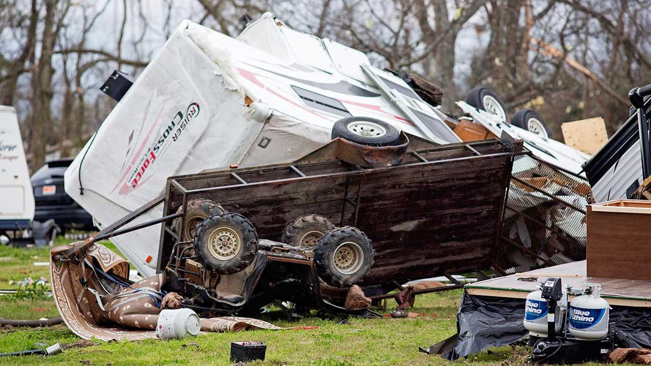 Damaged RVs sit at Sugar Hill RV Park following a storm in Convent, La., Wednesday, Feb. 24, 2016.