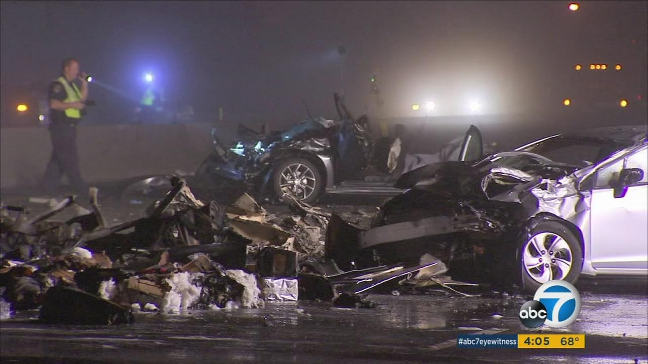 A street race led to the death of three people and critical injuries of several others following a multi-vehicle crash involving a big rig on the 5 Freeway in Commerce.