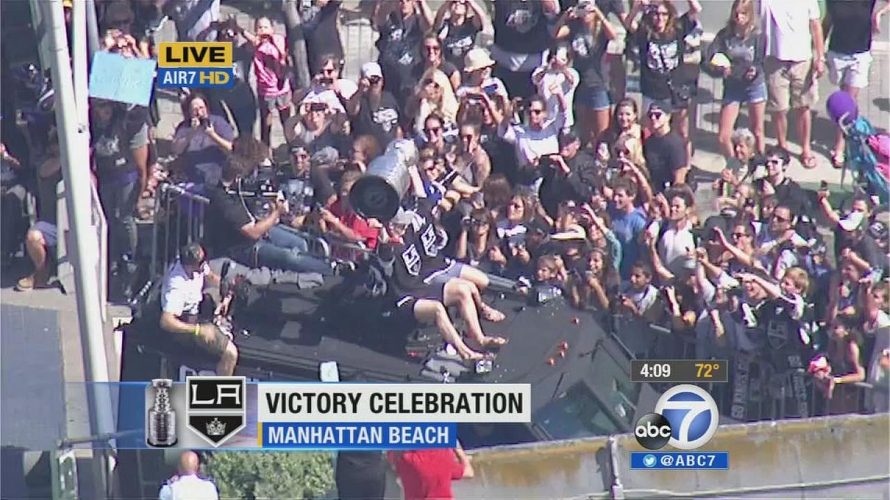 Los Angeles Kings fans celebrate their Stanley Cup championship in the South Bay, where most of the players live, on Wednesday, June 18, 2014.