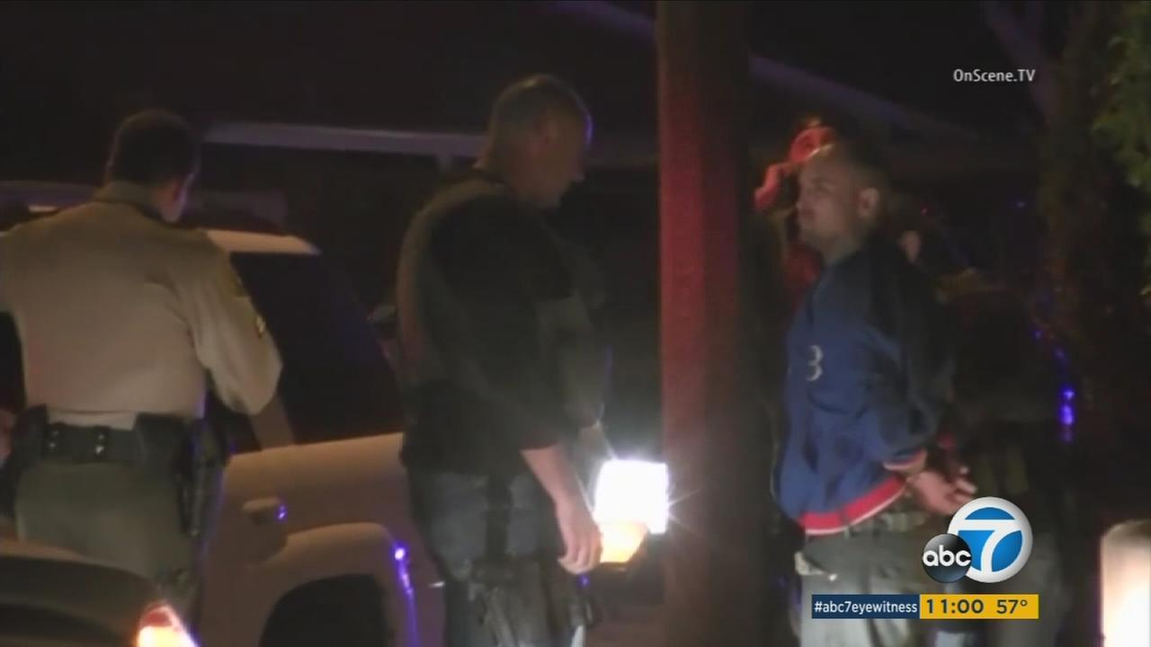 Thomas Ueno, a kidnapping, chase and domestic violence suspect, was taken into custody by authorities in Cerritos on Tuesday, March 1, 2016.