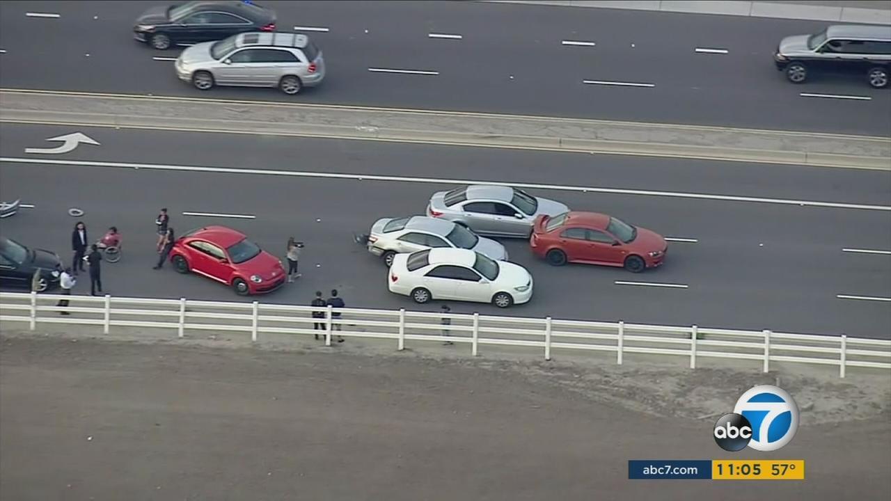 Los Angeles Sheriffs deputies pursued five armed stolen-car suspects at Cal Poly Pomonas University Village.