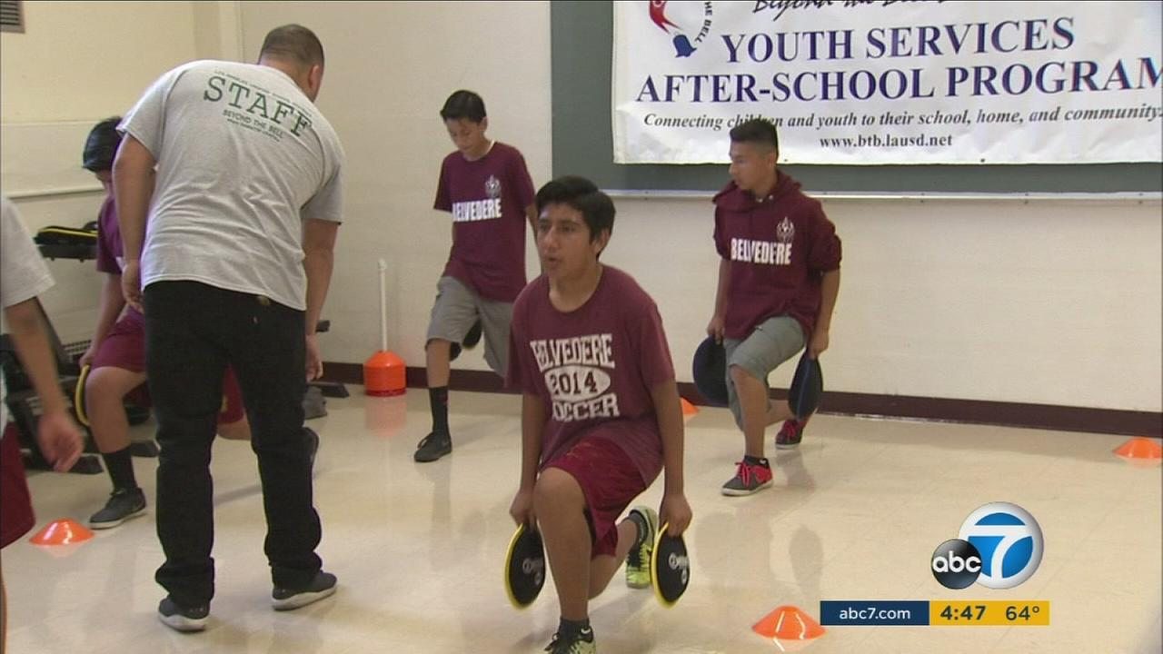 A UCLA group has donated seven fitness centers to Los Angeles schools to battle childhood obesity.