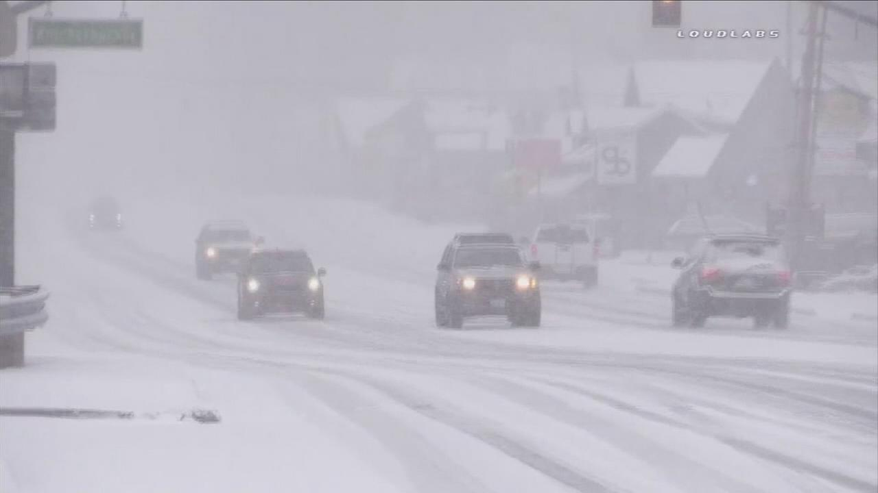 The Inland Empire saw fresh snow from a second storm that hit Southern California on Monday, and drivers were urged to be cautious on the roads.